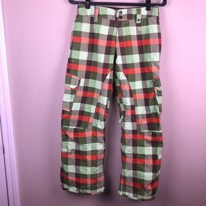 BURTON Checkered Snowboard Ski Pants XS Brown